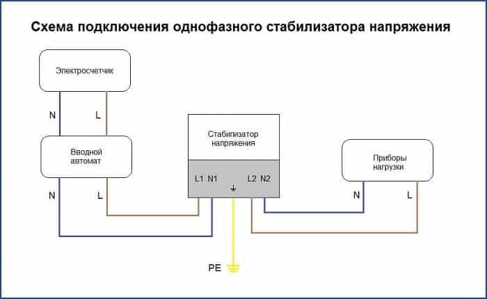 Схема включения стабилизатора