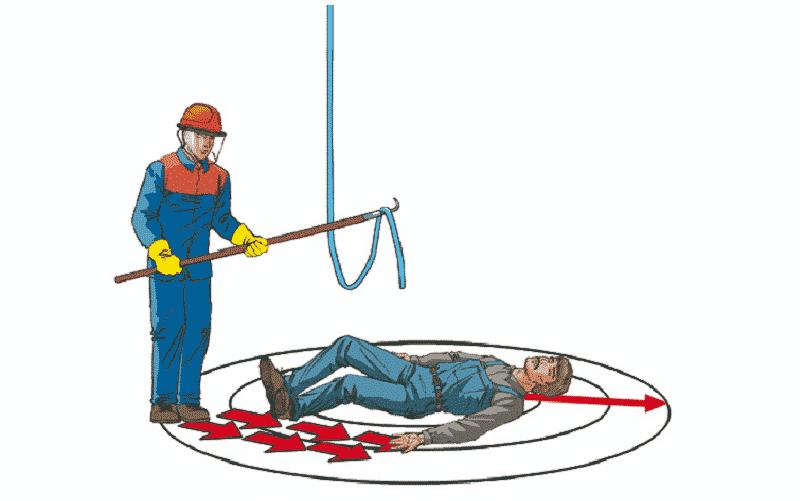 Удаление провода штангой