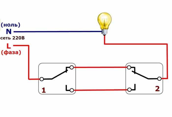 управление с помощью двух проходных выключателей