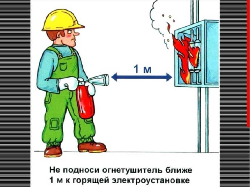 Основные правила применения огнетушителей