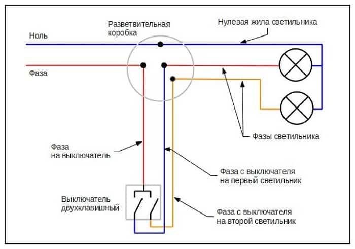 Подключение двухклавишного выключателя к люстре