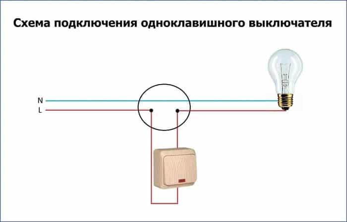 Схема для одноклавишного выключателя