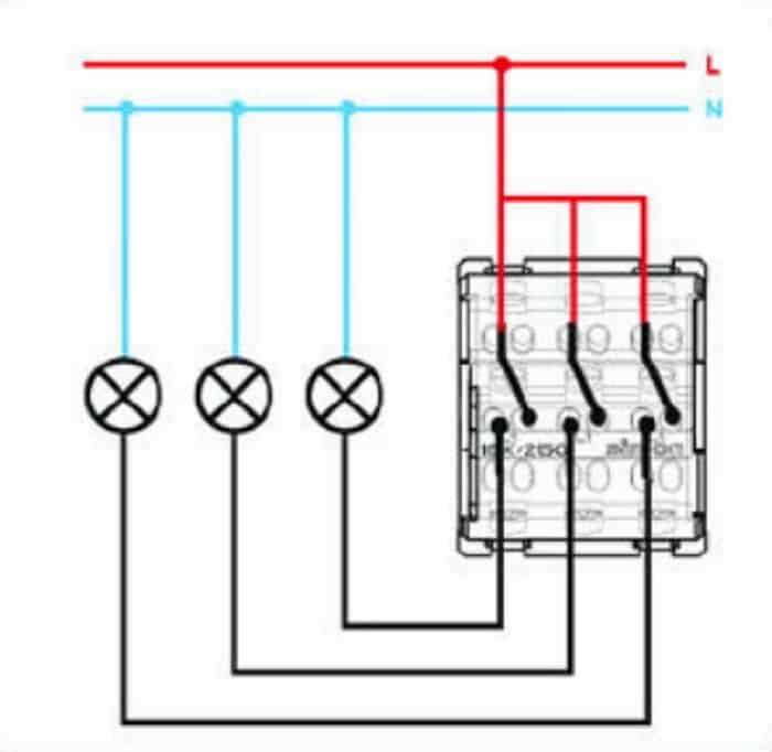 Схема подключения выключателя lezard