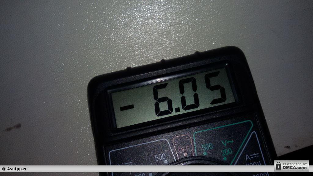 Измеренное мультиметром напряжение