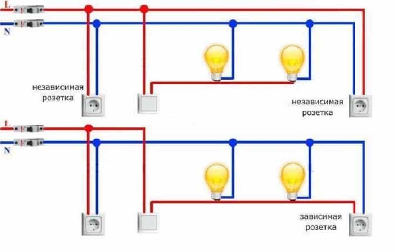 Схема освещения на два вывода