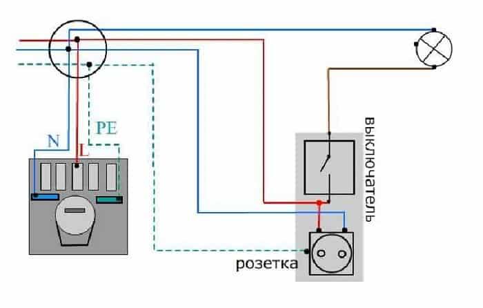 подключение розетки от одноклавишного выключателя
