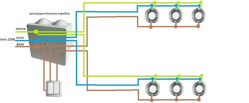 подключение светильников в натяжном потолке
