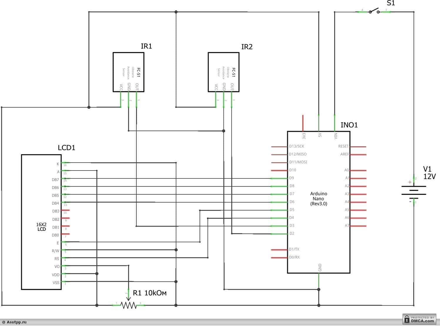 Электрическая схема детектора скорости автомобиля