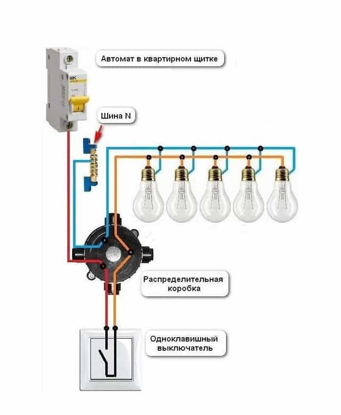 Пример подключения выключателя