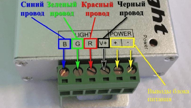 Маркировка клемм контроллера
