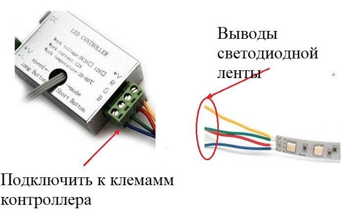 Подключить ленту к контроллеру