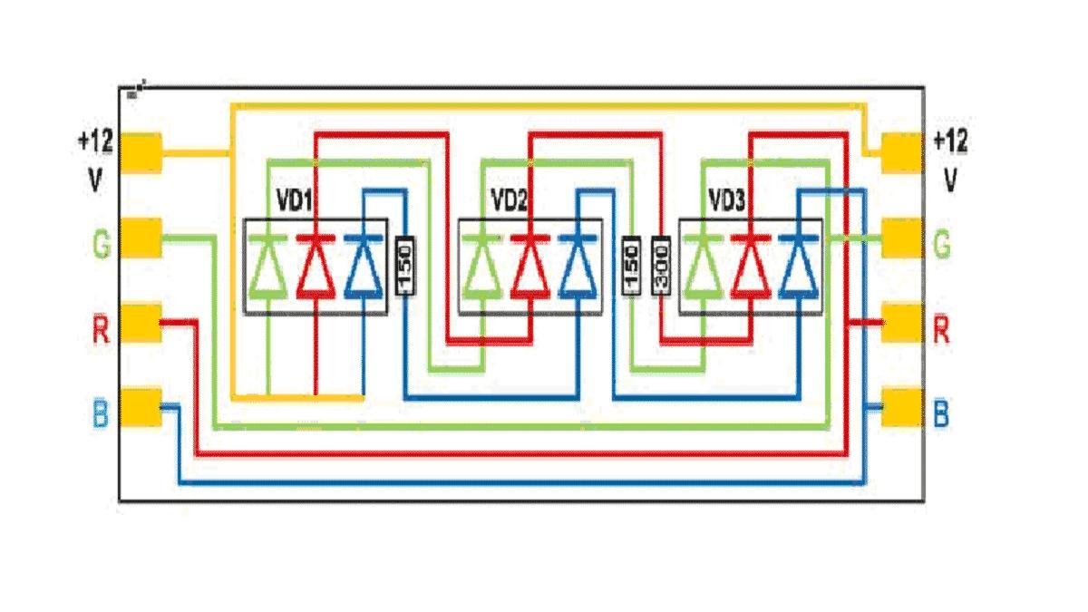 Пример питания кристаллов RGB ленты