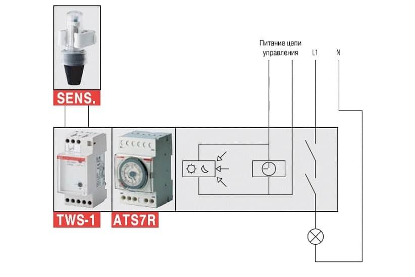 Пример подключения освещения через реле и сенсор