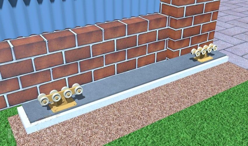 Зафиксируйте ролики на бетонном основании