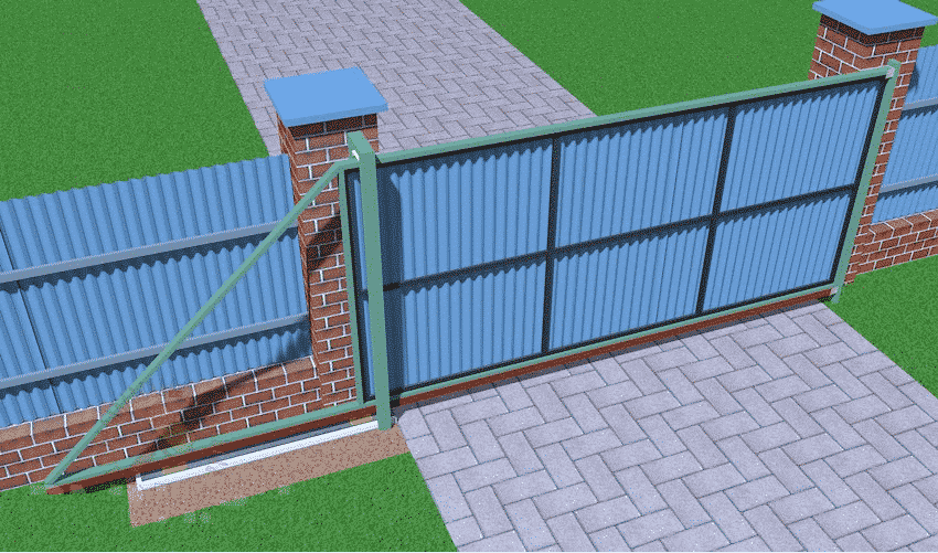 Закрепите готовые ворота в проеме