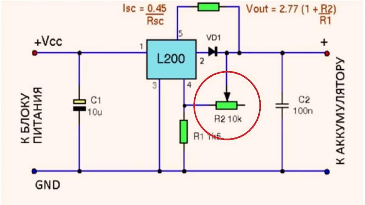 Пример установки регулировочного резистора