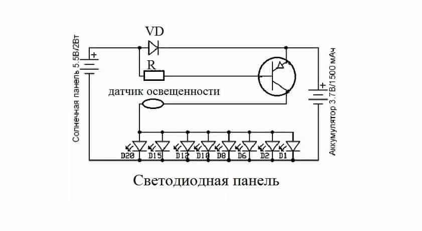 Принципиальная схема уличного освещения на солнечных батареях
