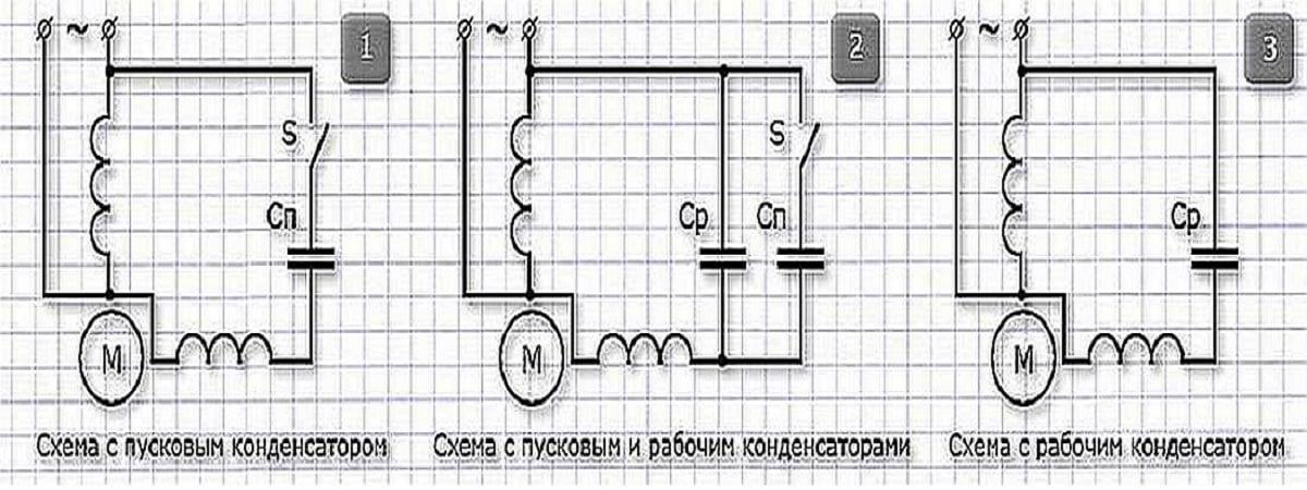 схемы пуска однофазного двигателя