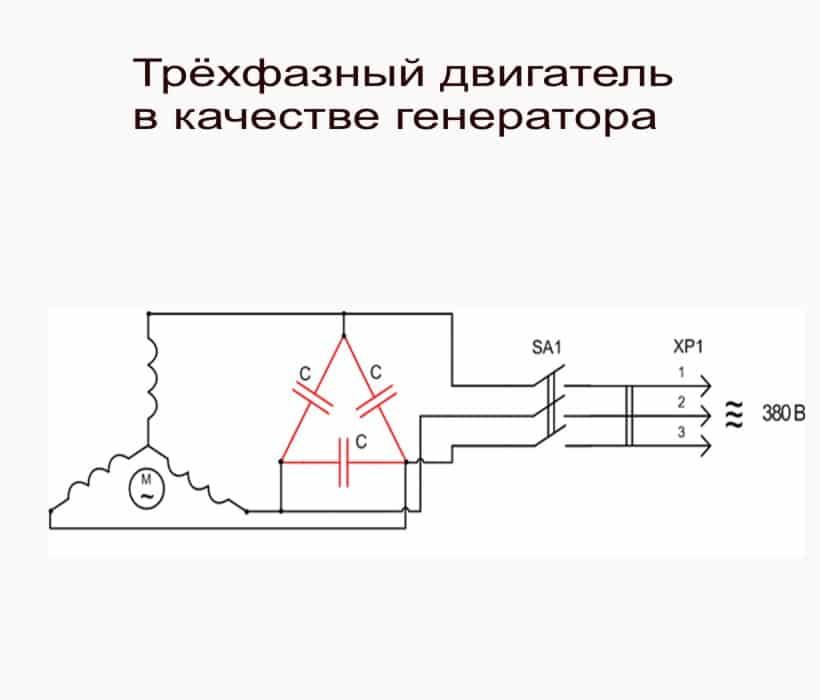 Трёхфазный двигатель в качестве генератора