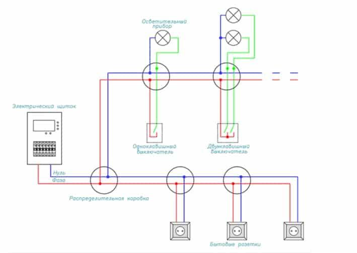 Двухпроводная схема освещения