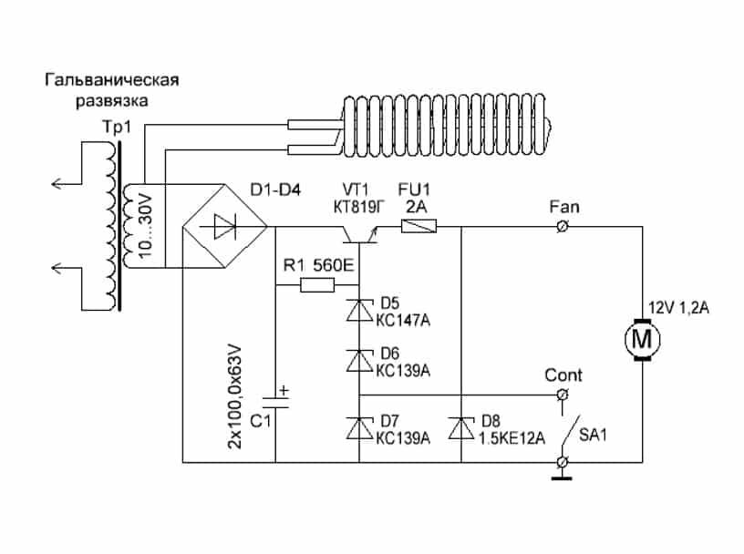 Электрическая схема термофена