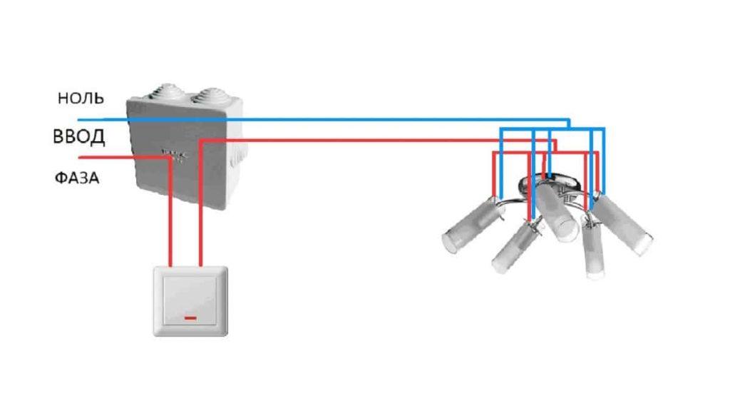 Подключение на одноклавишный выключатель