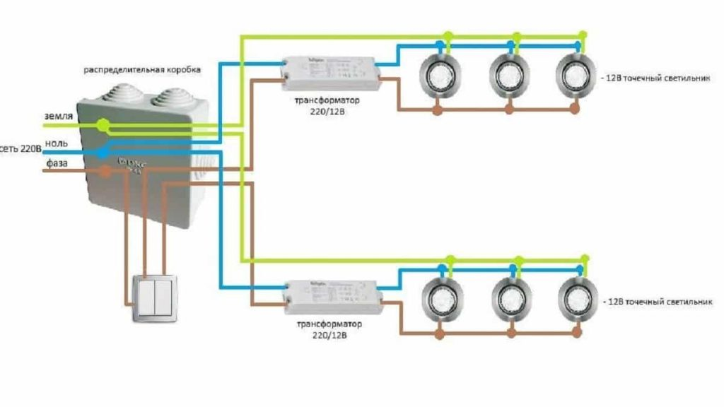 Схема питания точечных светильников