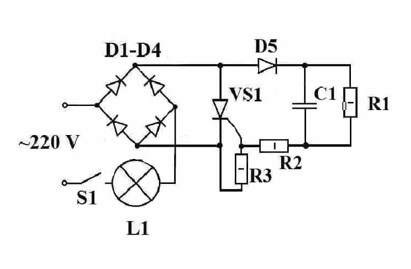 Схема реле времени на 220В