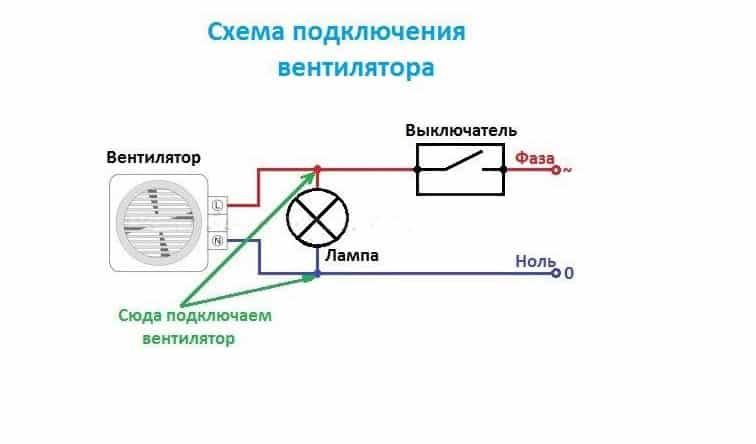 Схема включения вентилятора к лампочке