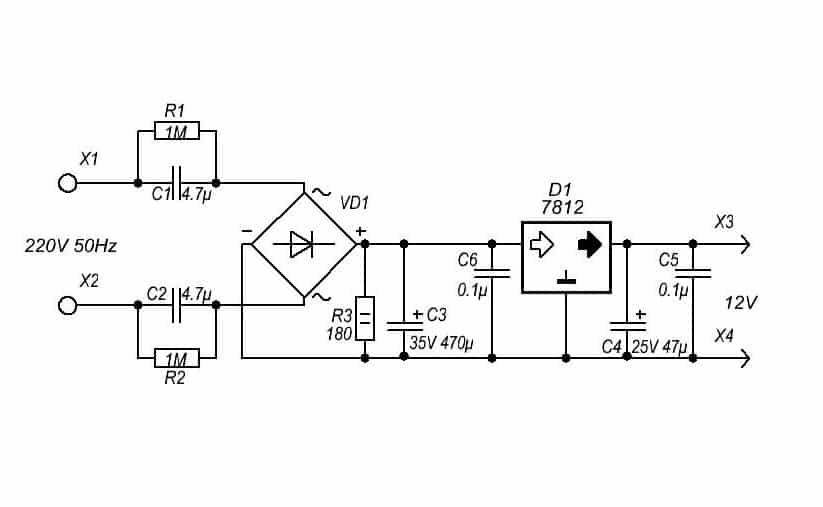 Понижение напряжения с помощью гасящего конденсатора