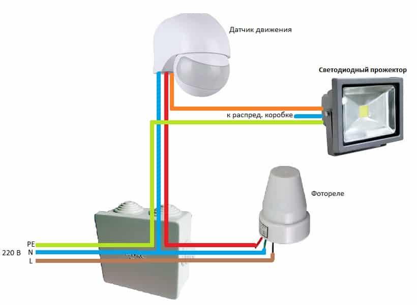 Схема подключения через фотореле и датчик движения