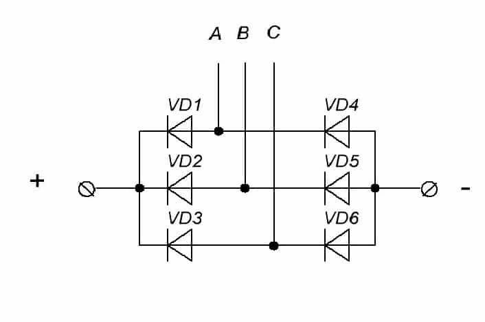 Схема трехфазного диодного моста