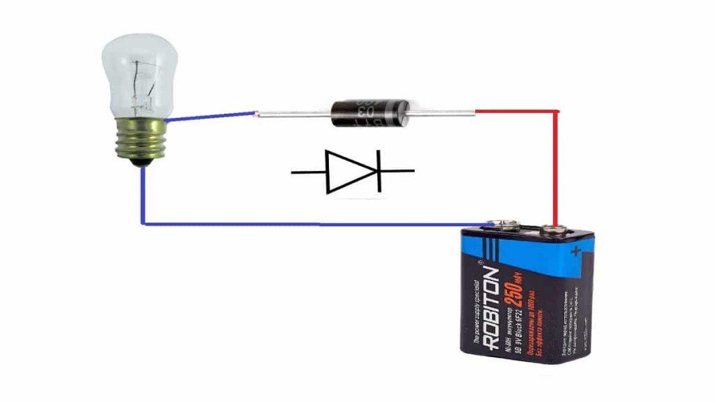 Обратная схема проверки лампочкой и батарейкой