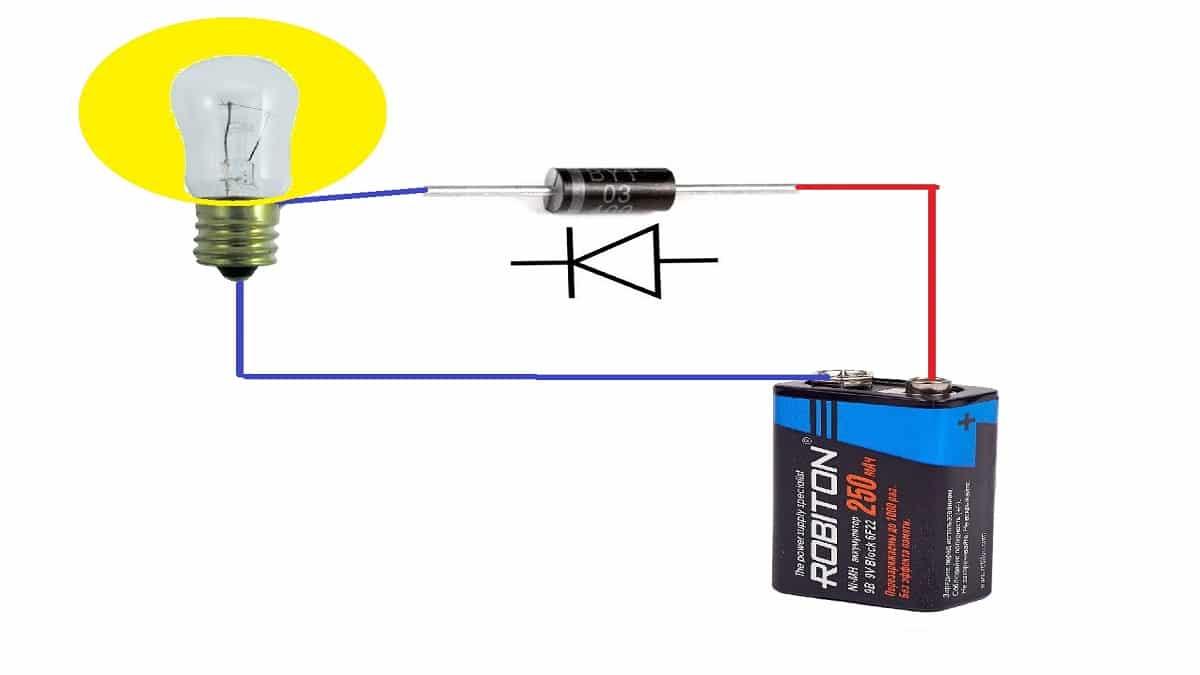 Схема проверки лампочкой и батарейкой