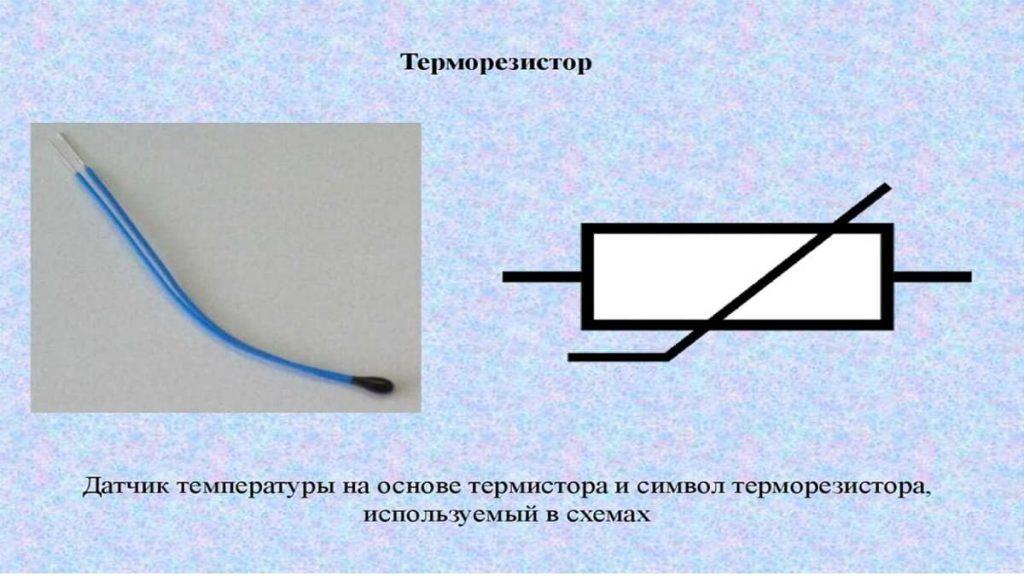Терморезистор и его изображение на схемах