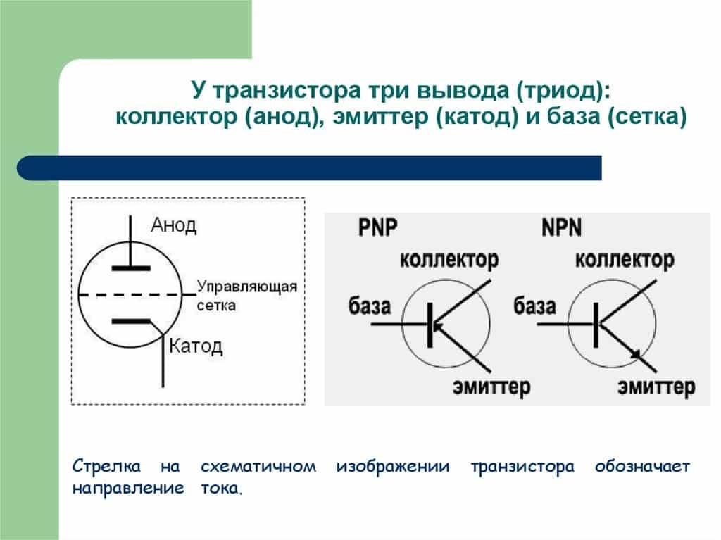 Транзистор на схемах и его электроды