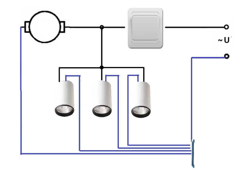 Схема подключения мотора и ламп на один выключатель