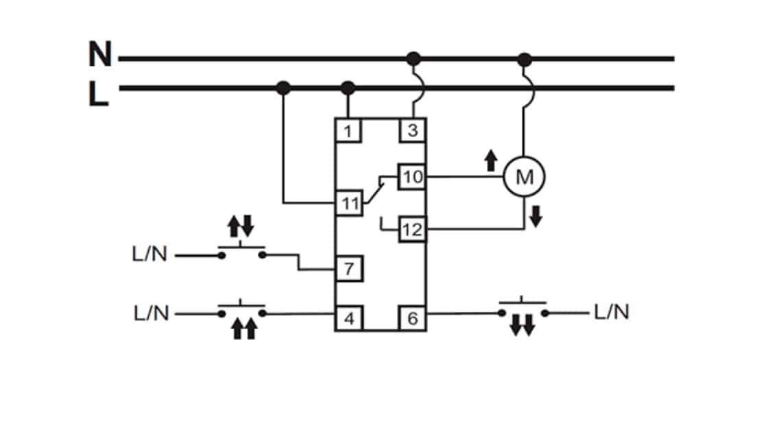 Схема подключения реле управления шторами  STR-421