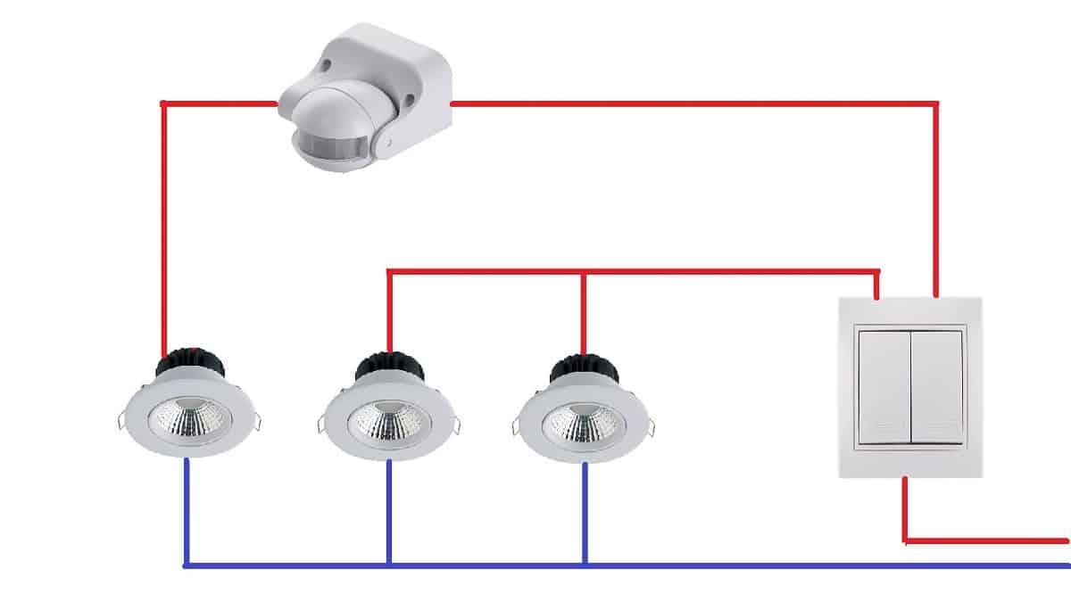 Альтернативная схема трех светильников на двухклавишный выключатель