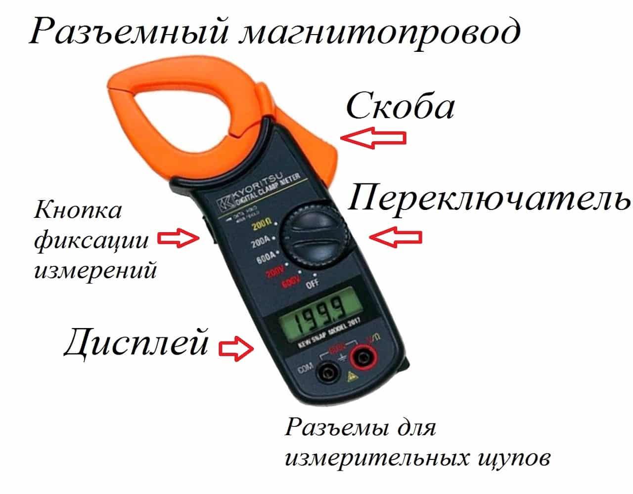 Использование клещей для измерения переменного тока
