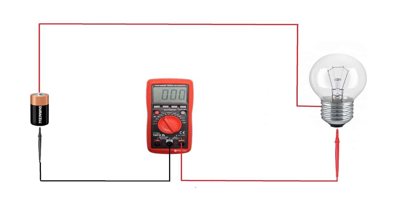 Измерение силы тока в цепи батарейки