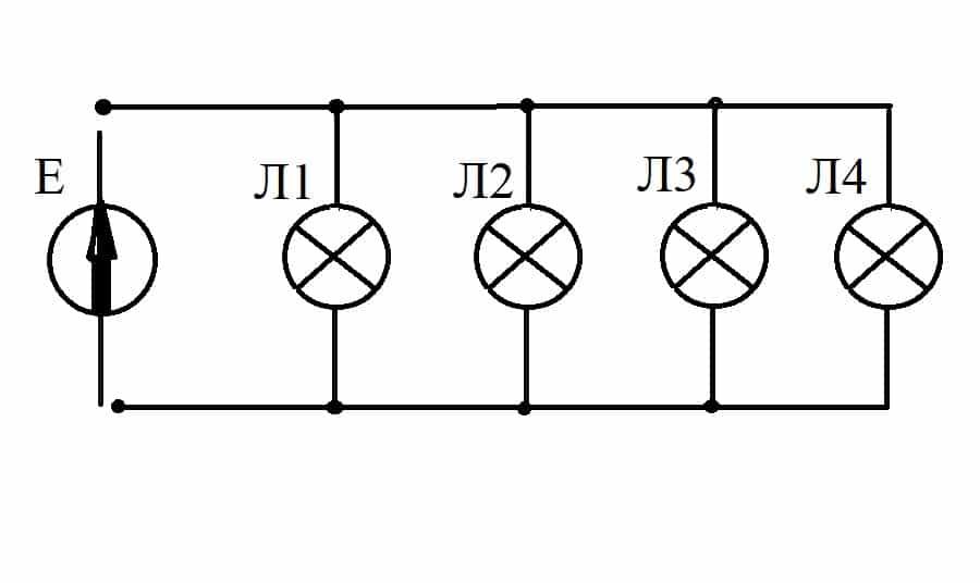 Параллельное подключение ламп к источнику