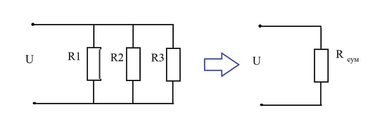 Параллельное включение резистивной нагрузки