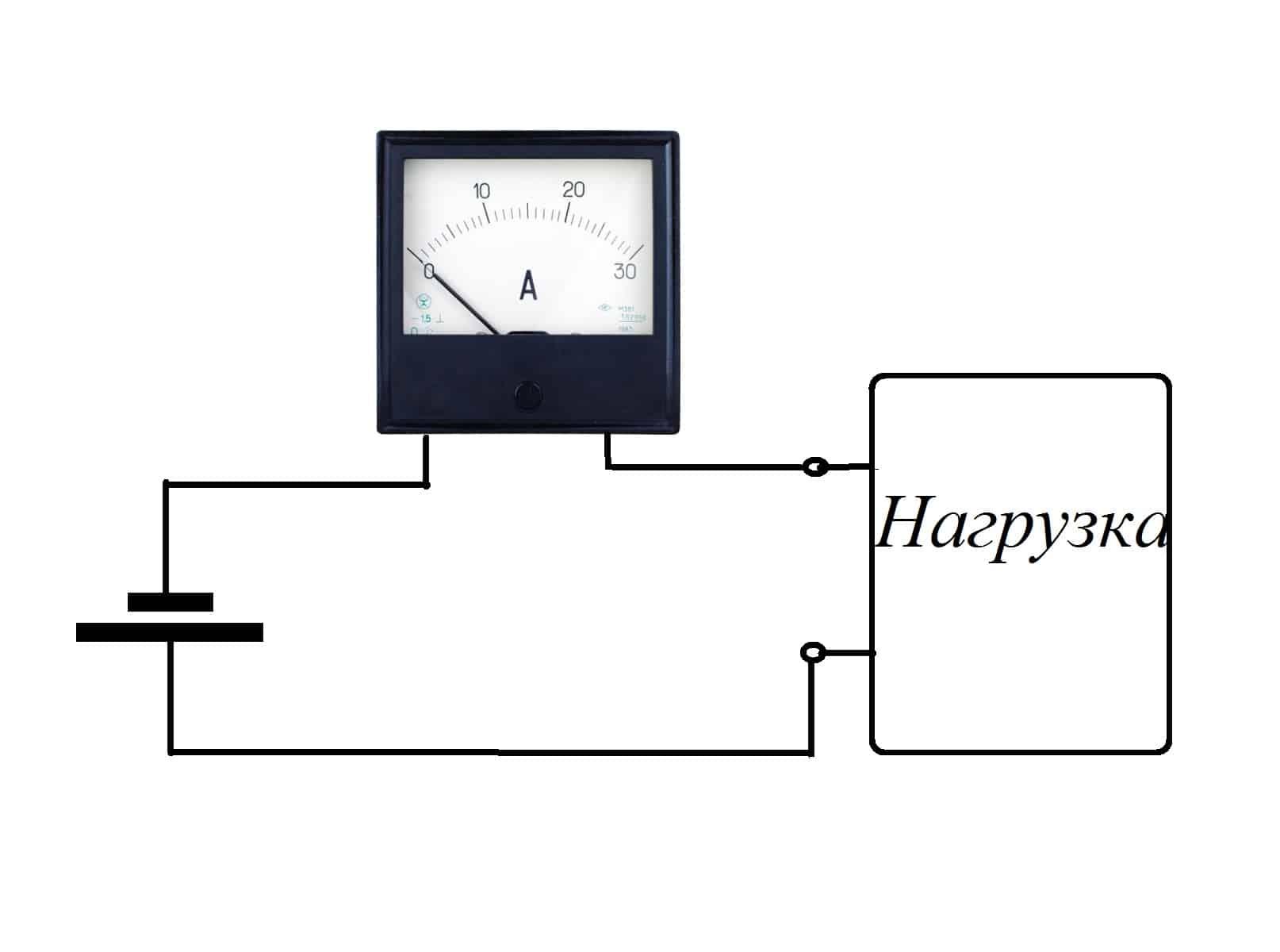 Пример подключения амперметра