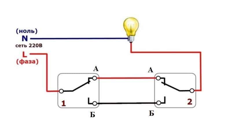 Принцип действия проходного выключателя