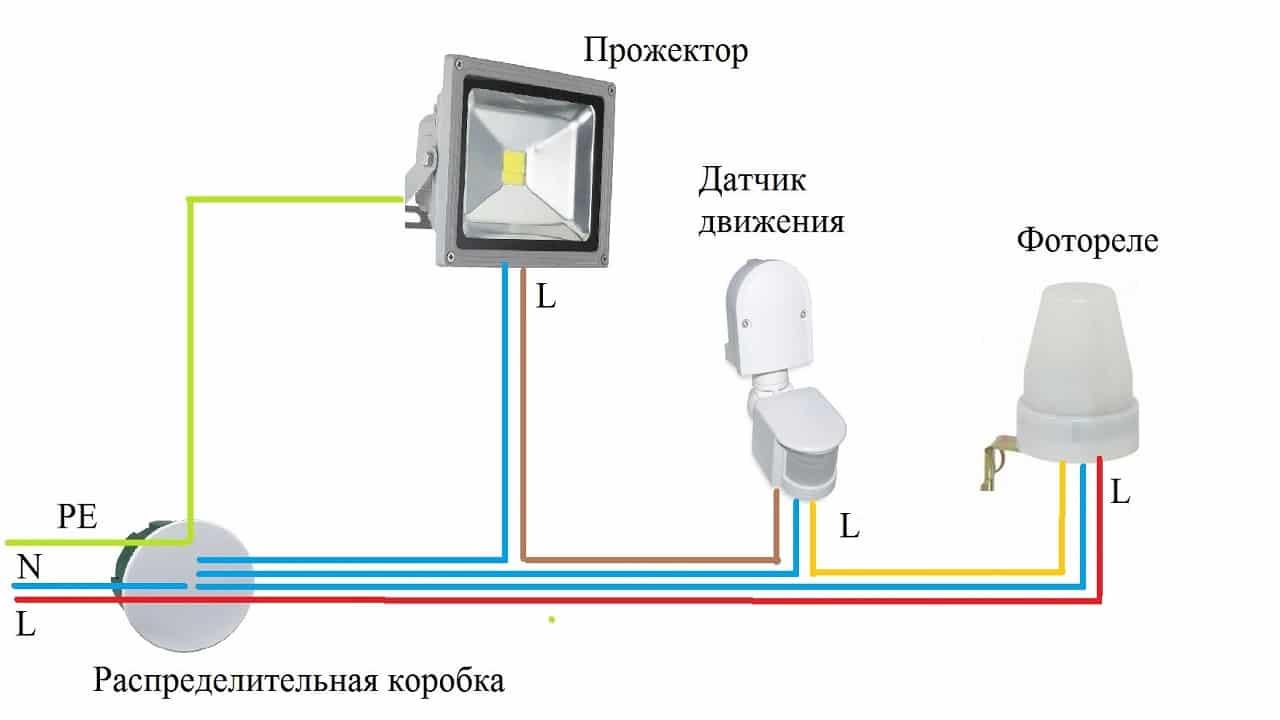 Принцип подключения прожектора через сенсор и фотореле