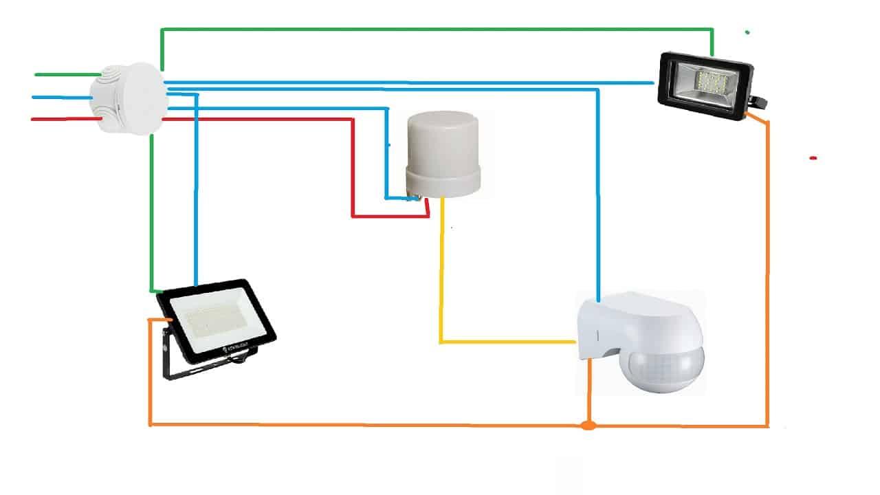 Схема подключения двух светильников