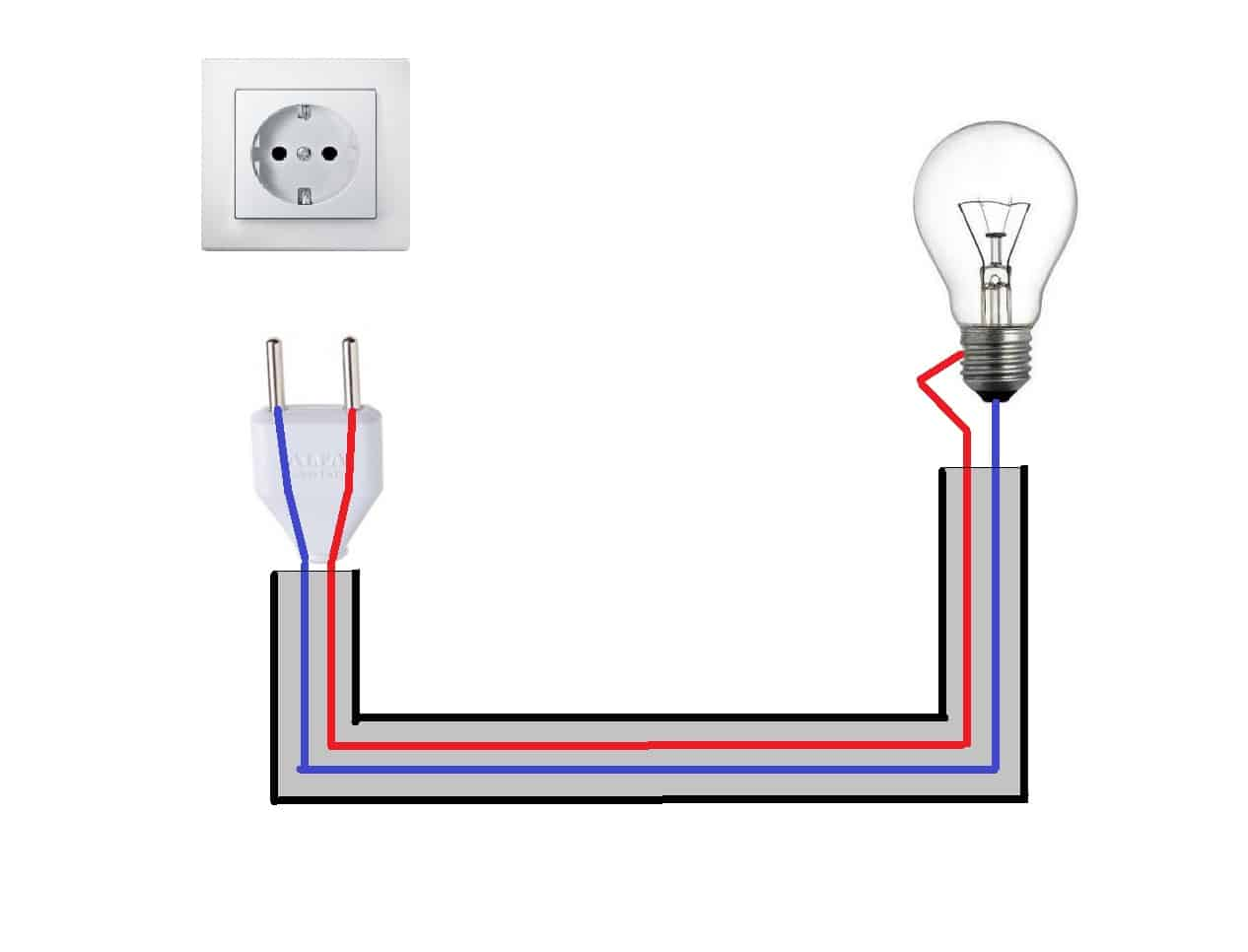 Схема подключения лампочки напрямую
