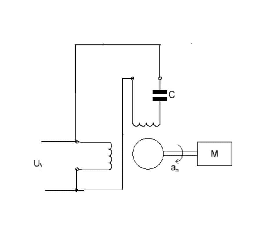 Пример соединения обмоток двухфазного двигателя