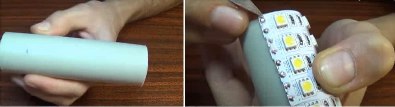 Разрежьте пластиковую трубу на части и приклейте ленту